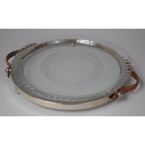 25 - A Modern Circular Leather Handled Tray with Dish Top, 32.5cm Diameter...
