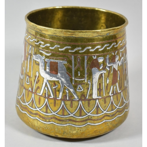 26 - A Mixed Metal Cairo Ware Vase with Egyptian Hieroglyphic Decoration, 14.5cm High...