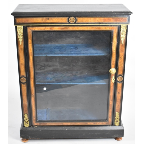 27 - A 19th Century Ormolu Mounted Ebonised Inlaid Credenza with Glazed Door to Three Shelved Interior, 7...