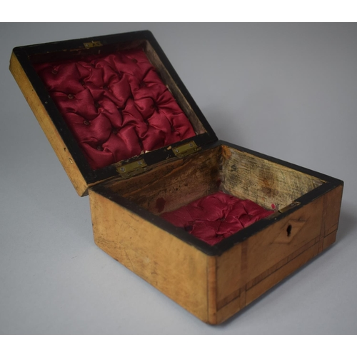 3 - A Late 19th Century Inlaid Jewellery Box, Somewhat Faded, 19.5cm Wide...