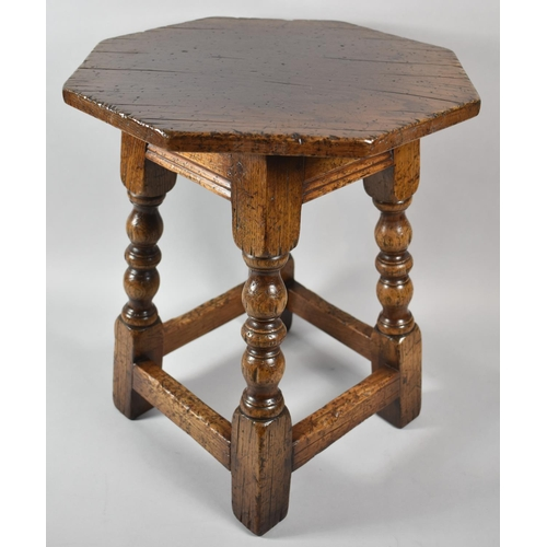 31 - A Nice Quality Octagonal Topped Oak Small Table with Turned Supports, 38cm Diameter...