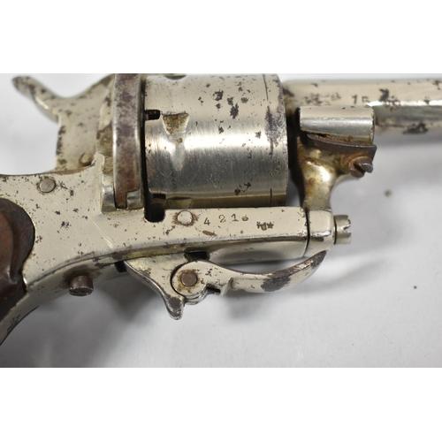 32 - A 19th Century Belgian Rimfire Six Shot Pocket Revolver with Folding Trigger, Belgian Proof Marks...