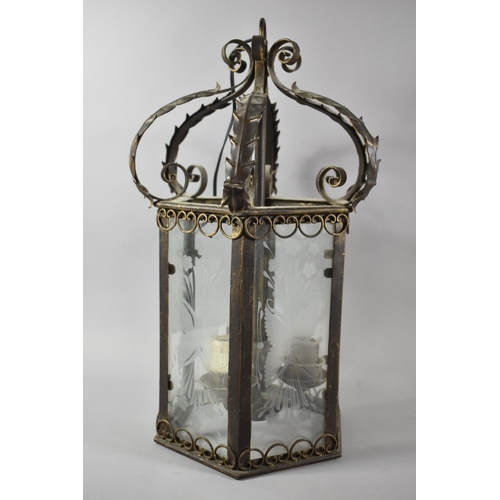39 - A Reproduction Hexagonal Three Branch Metal Framed Hall Lantern with Etched Glass Panels and Scrolle...