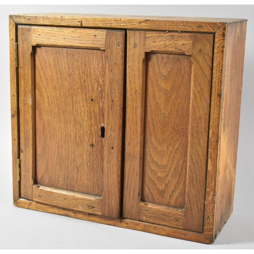 4 - A Wall Hanging Oak Cabinet with Panelled Door, 35.5cm Wide...