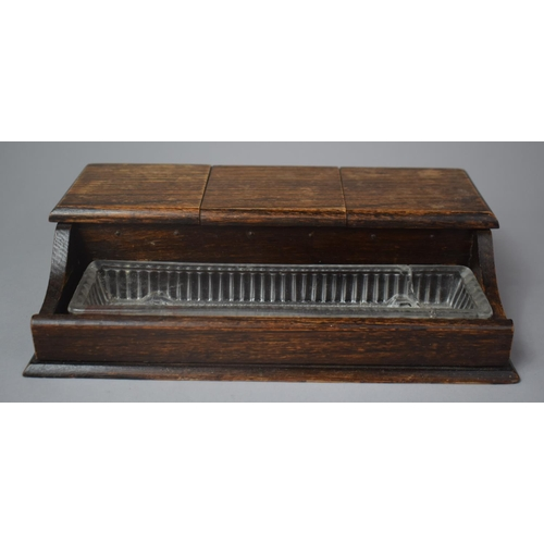 42 - An Edwardian Oak Desk Top Inkstand with Glass Pen Tray and Three Glass Inkwells, 27cm Wide...
