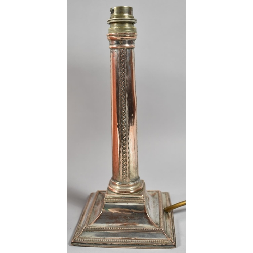 43 - A Sheffield Plated Table Lamp Base in the Form of a Column on Stepped Square Base, 25cm high (with S...
