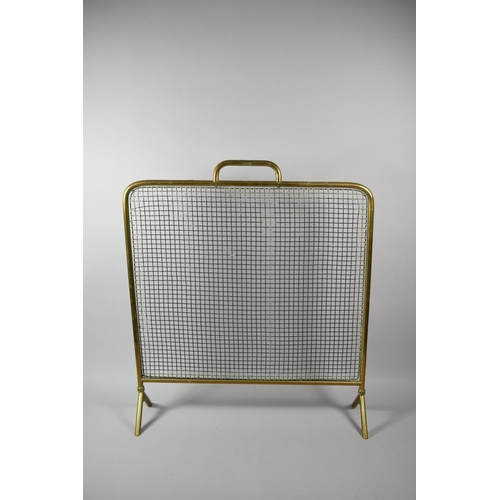 46 - A Late 19th/Early 20th Century Brass Framed Firescreen, 59cm Wide...