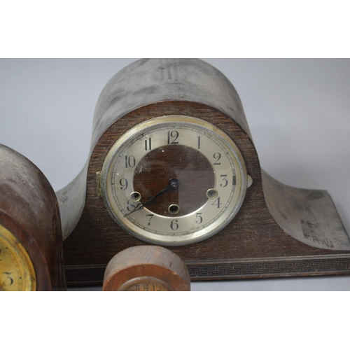 48 - Two Mantle Clocks and a Westminster Chime Mantle Clock, All For Restoration Together with a Small Do...