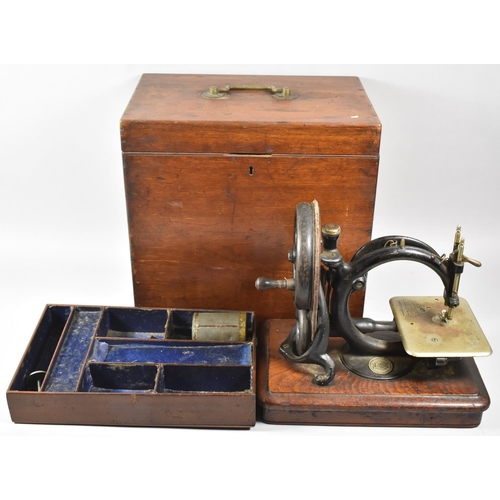 49 - A 19th Century Mahogany Cased American 'C' Frame Sewing Machine by Willcox & Gibbs, Original Case wi...