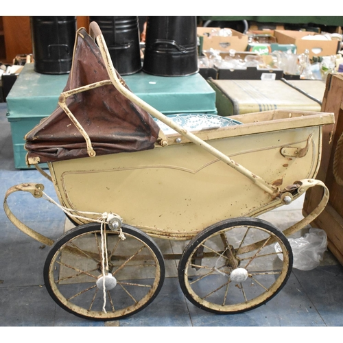 490 - A Vintage Dolls Pram For Restoration and an Oval Meat Plate