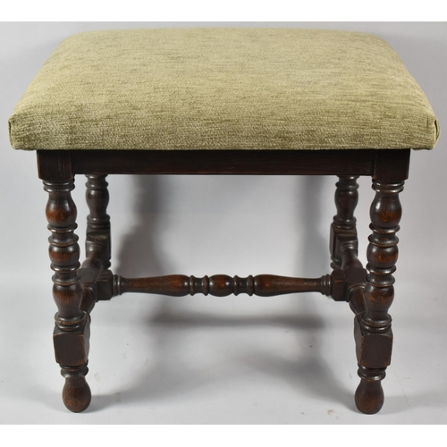 51 - An Edwardian Oak Framed Rectangular Upholstered Stool with Turned Supports and Stretchers, 45cm Long...