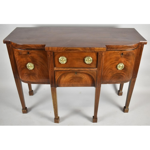 53 - A 19th Century Mahogany Breakfront Sideboard with Two Centre Drawer and Quadrant Side Drawers All wi...