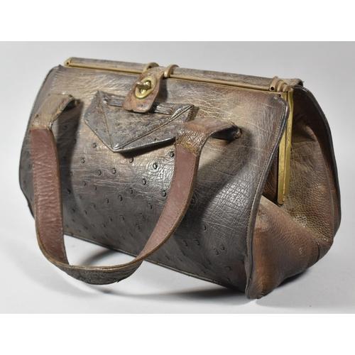 57 - An Edwardian Ladies Crocodile Skin Handbag, 31cm Wide...