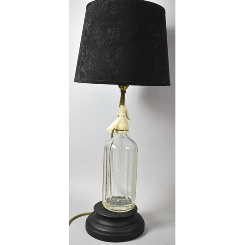 58 - A Novelty Table Lamp Formed from a Schweppes Soda Siphon Complete with Shade, Total Height 63cm...