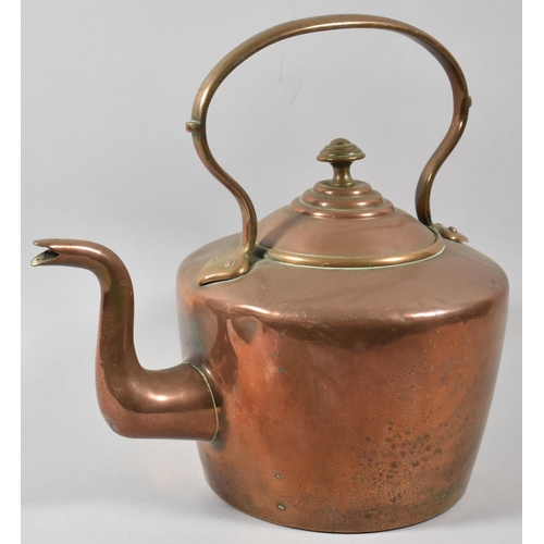 60 - A Late 19th/Early 20th Century Large Copper Kettle, 31cm High...