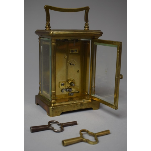 8 - An Early/Mid 20th Century Brass Cased French Carriage Clock, Movement In Need of Attention, 12.5cm H...