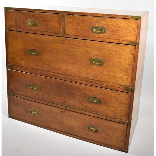 72 - A 19th Century Two Section Brass Mounted Campaign Chest in Oak with Two Short and Three Long Drawers...