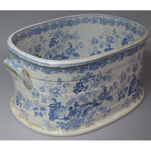 A Transfer Printed Blue and White Footbath with Two Carrying Handles, Hairline Crack to Body, 50cm wide