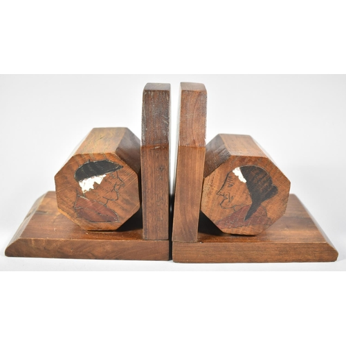 11 - A Pair of Vintage Wooden Breton Bookends with Octagonal Mounts, Decorated with Old Gent and Lady, 13...