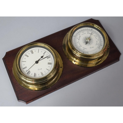12 - A Modern Wall Mounting Brass Cased Clock and Barometer Set on Mahogany Plinth, 38cm Wide...