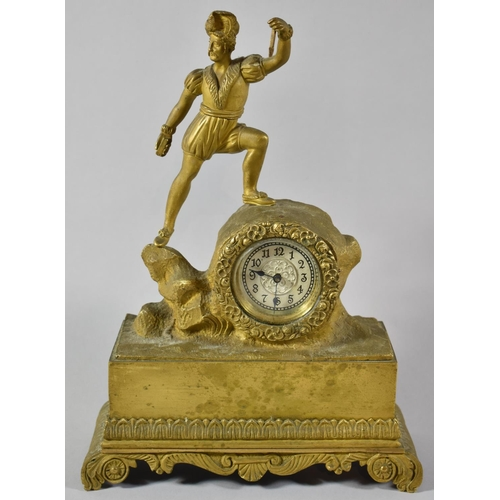 16 - A French Bronze Figural Mantle Clock, Movement in Need of Attention, 20cm wide and 28cm high