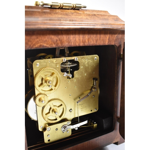 17 - A Recently Refurbished Dutch Mantle Clock with Franz Hermle Westminster Chime Movement, 23cm high an...