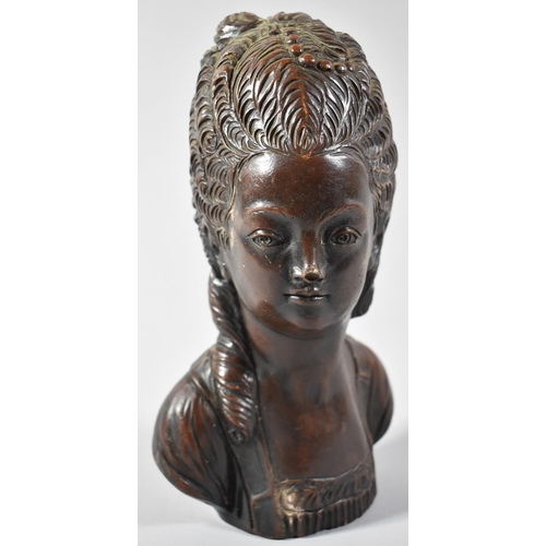 18 - A Bronze Effect Resin Bust of a 18th Century French Lady, 24cm high...