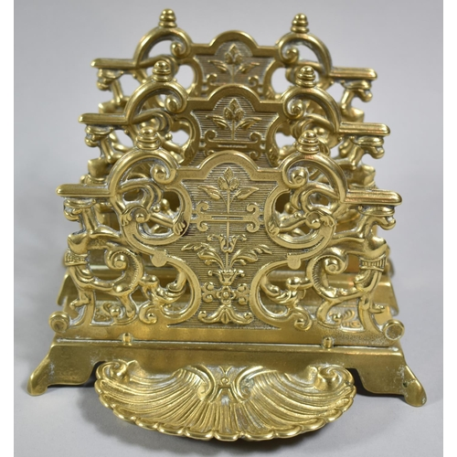19 - A Reproduction French Brass Two Division Desktop Stationery Rack with Shell Stamp Holder, 15.5cm wid...