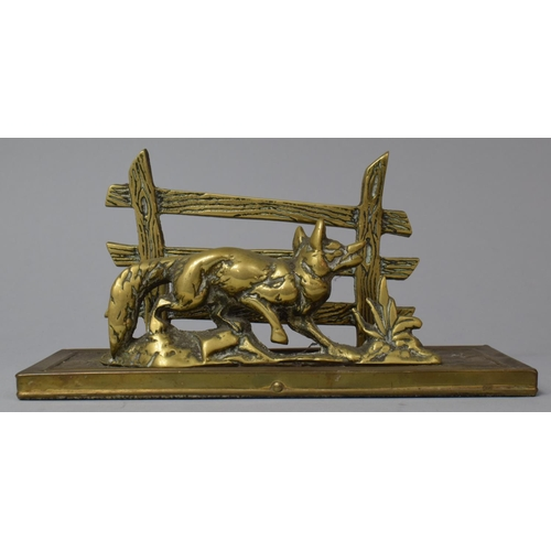 24 - A Brass Novelty Letter Holder in the Form of a Fox Before Post and Rail Fence, 20.5cm wide...
