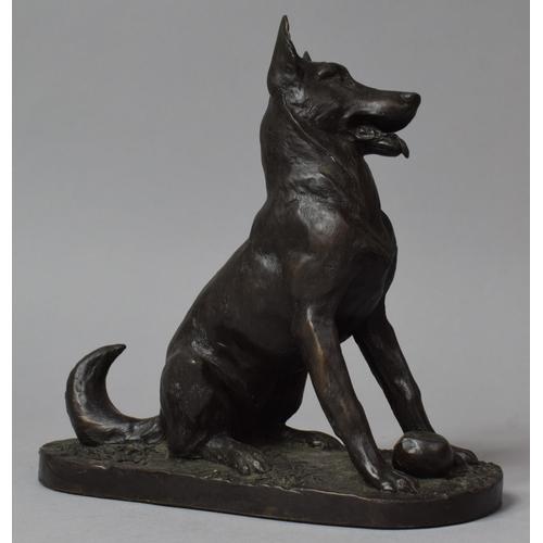 27 - A Composition Bronze Effect Study of a German Shepherd, 16cm wide...