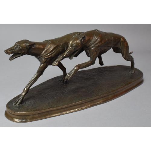 28 - An Irish Bronze Effect Figure Group by Genesis Fine Arts, Heredities Series, Greyhounds, No EE032, 3...