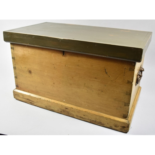 34 - A Small Wooden Two Handled Chest with Painted Hinged Lid, 51cm Wide...