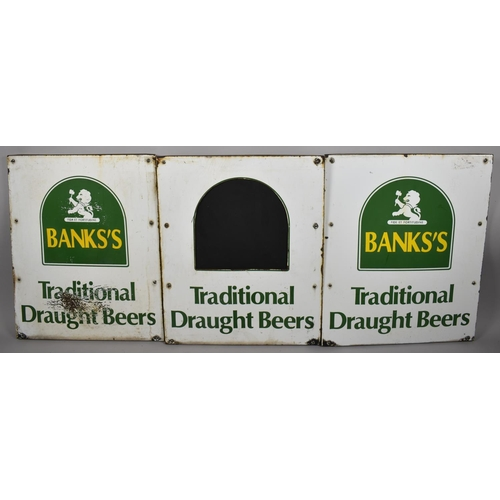 35 - A Set of Three Single Sided Metal Signs for Banks's Traditional Draught Beers, Each 52cm x 65cm...