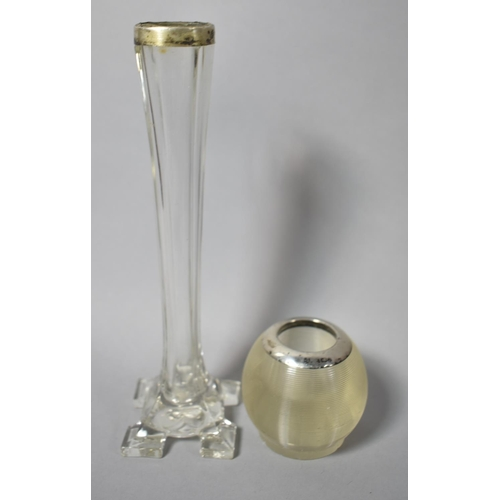 40 - A Silver Mounted Globular Glass Match Holder Striker Together with a Silver Topped Glass Bud Vase...