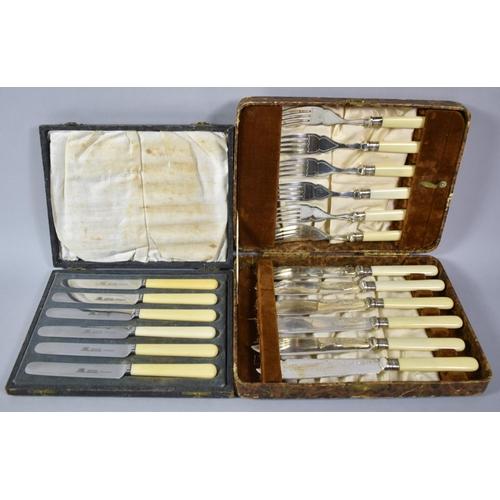 42 - A Vintage Cased Set of Sterling Silver Banded Bone Handled Fish Knives and Forks Together with a Set...