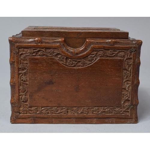 48 - A Far Eastern Wooden Cigarette Dispenser Box, 11.5cm wide...