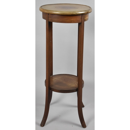 53 - An Edwardian String Inlaid Circular Topped Jardiniere Stand with Stretcher Shelf, 33cm Diameter and ...
