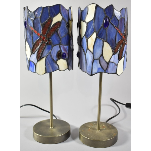 56 - A Pair of Modern Table Lamps with Reproduction Tiffany Style Dragonfly Shades, Each Lamp 41cm High...