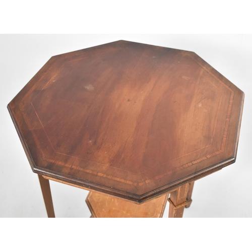 57 - An Edwardian String Inlaid Walnut Octagonal Topped Occasional Table with Stretcher Shelf, 64cm Diame...