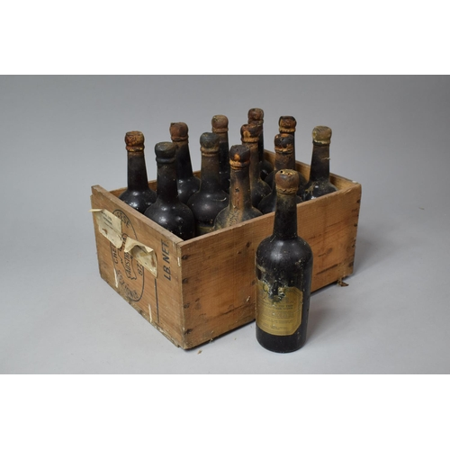 An Australian Cheese Box Containing 12 Bottles of Harveys Amontillado 1951 and 1954 Sherry Together with Two Bottle of Harveys Amoroso No.2 and One Bottle Harveys Olorosa No.2 Sherry