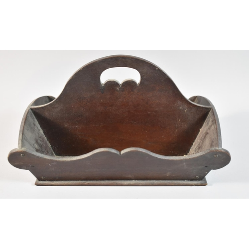 1 - A Georgian Mahogany Two Division Cutlery Tray with Centre Carrying Handle, 41cm wide...