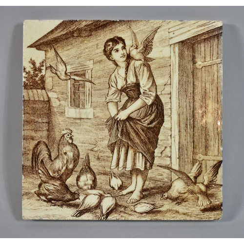 11 - A Transfer Printed Mintons Sepia Tile, Girl Feeding Poultry, 15cm Square