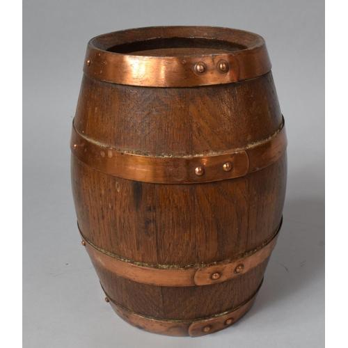 12 - A Copper Banded Oak Barrel, 20cm High...