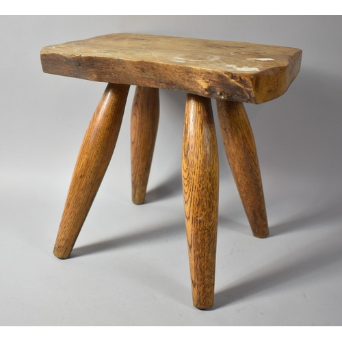 13 - A Rustic Elm Topped Rectangular Four Legged Stool, 31cm wide...