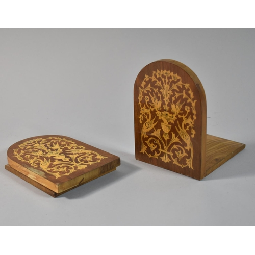 17 - A Pair of Italian Inlaid Bookends, 14cm High