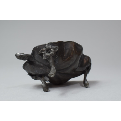 18 - A Late 19th/Late 20th Century Oriental Pewter Novelty Dish in the Form of a Leaf on Three Scrolled F...