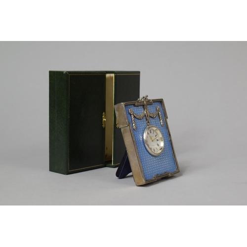 22 - A Cased Kitney & Co. Faux Blue Enamel and White Metal Desk Clock In Original Case, 9.5cm...