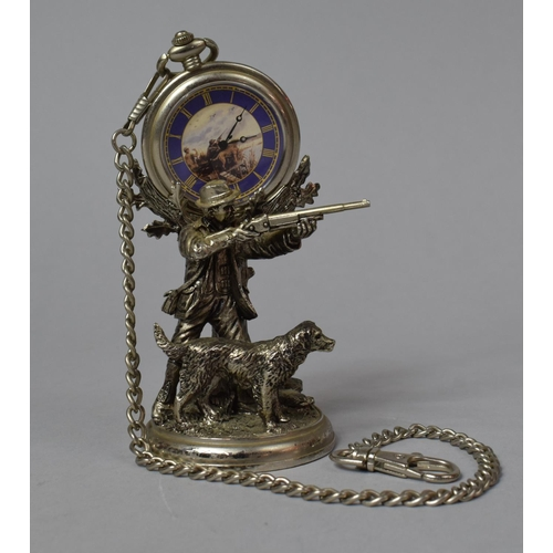 23 - A Modern White Metal Novelty Pocket Watch Holder In the Form of Huntsman with Shotgun and Dog Togeth...
