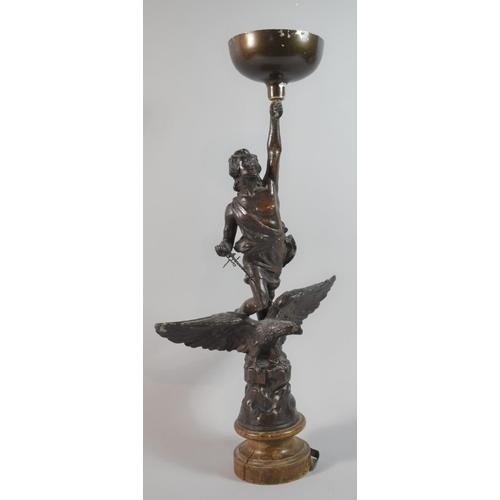 24 - A French Spelter Figural Ornament, Replacement Bowl to Top, Inscribed