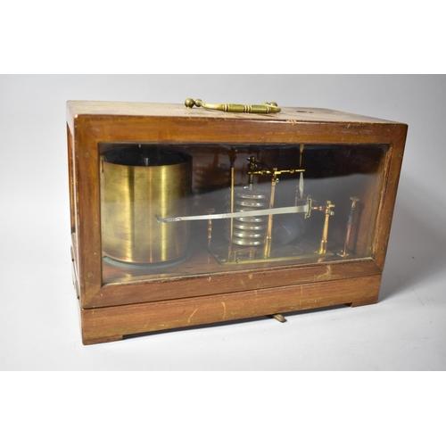 25 - An Early 20th Century Wooden Cased Clockwork Barograph on Bracket Feet Having Brass Carrying Handle ...